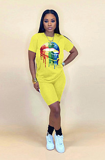 Yellow Casual Mouth Graphic Short Sleeve Round Neck Tee Top Shorts Sets WA5113