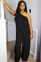 Black Casual Polyester Sleeveless Tank Jumpsuit DMM8123