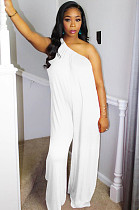 White Casual Polyester Sleeveless Tank Jumpsuit DMM8123