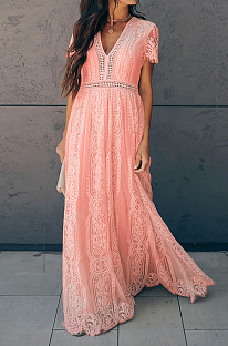 Pink Elegant Short Sleeve V Neck Hollow Out Guipure Lace High Waist Long Dress NS5638