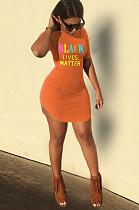 Orange Casual Polyester Letter Short Sleeve Round Neck High Waist Mini Dress SN3794