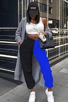 Blue Casual Cotton Contrast Binding High Waist Sweat Pants CX216