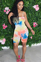Pink Casual Polyester Tie Dye Sleeveless Cami Jumpsuit Q574