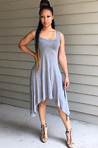 Grey Casual Cotton Blend Sleeveless Square Neck A Line Dress D8366