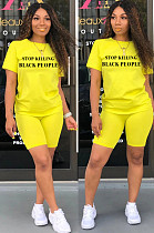 Yellow Casual Polyester Letter Short Sleeve Round Neck Tee Top Shorts Sets SN3787