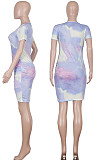 Light Blue Casual Polyester Tie Dye Short Sleeve Round Neck Ruched Detail Mini Dress Q552