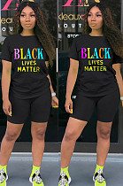Black Casual Polyester Letter Short Sleeve Round Neck Tee Top Shorts Sets SN3795