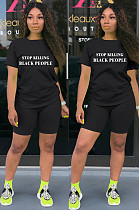 Black Casual Polyester Letter Short Sleeve Round Neck Tee Top Shorts Sets SN3787