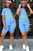 Blue Casual Polyester Letter Short Sleeve Round Neck Tee Top Shorts Sets SN3795