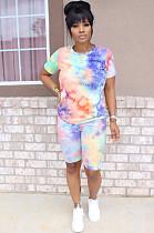 Green Orange Purple Casual Polyester Tie Dye Short Sleeve Round Neck Tee Top Shorts Sets SN3799
