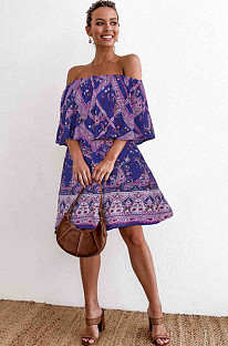 Purple Romantic Woven Fabric Tropical Woven Fabric High Waist Tube Dress NS5892