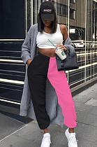 Pink Casual Cotton Contrast Binding High Waist Sweat Pants CX216