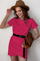 Rose Red Casual Cotton Pure color Short Sleeve Round Neck Ruffle Mid Waist Bodycon Skirt MGN1990
