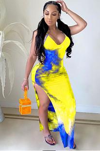 Gelbes sexy Polyester Tie Dye ärmelloses Kleid mit V-Ausschnitt HY5155