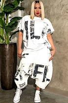 Blanc Casual Polyester Lettre À Manches Courtes Col Rond Blouse Utilitaire Pantalon Jambes Larges Ensembles OMY8055