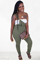 Army Green Casual Polyester Buttoned Ruffle Long Pants OMY8059