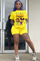 Yellow Casual Polyester Cartoon Graphic Short Sleeve Round Neck Tee Top Shorts Sets BM7062