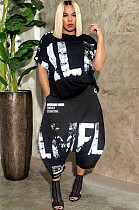Black Casual Polyester Letter Short Sleeve Round Neck Utility Blouse Wide Leg Pants Sets OMY8055