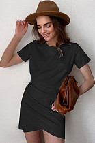 Black Casual Cotton Pure color Short Sleeve Round Neck Ruffle Mid Waist Bodycon Skirt MGN1990