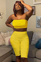 Yellow Casual Polyester Sleeveless Ruffle Bandeau Bra Shorts Sets FA7107