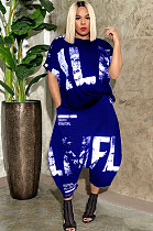 Blue Casual Polyester Letter Short Sleeve Round Neck Utility Blouse Wide Leg Pants Sets OMY8055