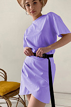 Purple Casual Cotton Pure color Short Sleeve Round Neck Ruffle Mid Waist Bodycon Skirt MGN1990