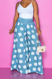 Blue Casual Polyester Polka Dot Wide Leg Pants BS1193
