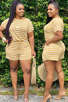 Yellow Casual Polyester Striped Short Sleeve Round Neck Tee Top Shorts Sets BM7080