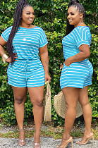Blue Casual Polyester Striped Short Sleeve Round Neck Tee Top Shorts Sets BM7080
