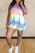 Blue Pink Orange Casual Polyester Striped Sleeveless Round Neck Tank Top Shorts Sets TZ1125