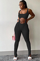 Black Polyester Sleeveless Knotted Strap Tank Top  Long Pants Sets FLY20922