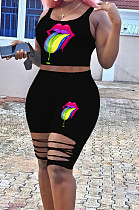 Black Casual Polyester Mouth Graphic Sleeveless Scoop Neck Ripped Tank Top High Waist Shorts Sets WJ5094