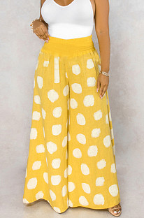 Yellow Casual Polyester Polka Dot Wide Leg Pants BS1193