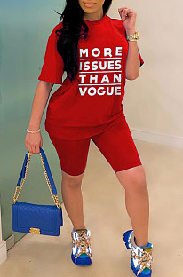 Red Casual Polyester Letter Short Sleeve Round Neck Tee Top Shorts Sets YSS8015