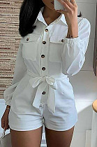 White Casual Polyester Long Sleeve Buttoned Waist Tie Overall Jumpsuit BM7067