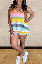 Orange Pink Blue Casual Polyester Striped Sleeveless Round Neck Tank Top Shorts Sets TZ1125