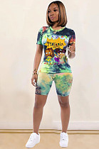 Fluorescent Green Casual Polyester Tie Dye Cartoon Graphic Short Sleeve Round Neck Top Shorts Sets BM7081