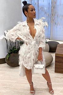 White Elegant Polyester Long Sleeve Stand Collar Buttoned Tassel Hem Long Dress BM7025