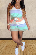 White Blue Orange Casual Polyester Striped Sleeveless Round Neck Tank Top Shorts Sets TZ1125