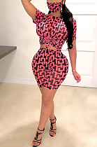 Pink Black Casual Polyester Short Sleeve Round Neck Tee Top Shorts Sets TZ1123