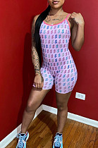 Pink Simplee Polyester Sleeveless Round Neck All Over Print Cami Jumpsuit YSS8016
