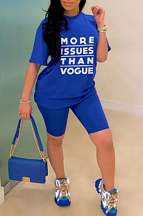 Blue Casual Polyester Letter Short Sleeve Round Neck Tee Top Shorts Sets YSS8015