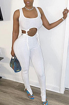 White Polyester Sleeveless Knotted Strap Tank Top  Long Pants Sets FLY20922