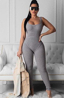 Gray Sexy Polyester Article Pit Sleeveless Square Neck Waist Tie Tank Jumpsuit FLY23162