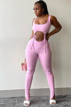 Pink Polyester Sleeveless Knotted Strap Tank Top  Long Pants Sets FLY20922