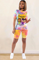 Yellow Casual Polyester Tie Dye Cartoon Graphic Short Sleeve Round Neck Top Shorts Sets BM7081