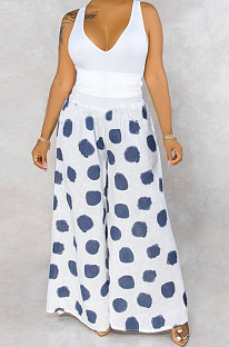 White Casual Polyester Polka Dot Wide Leg Pants BS1193