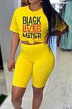 Yellow Casual Polyester Letter Short Sleeve Tee Top Capris Pants Sets DN8396