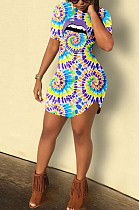 Purple Casual Polyester Mouth Graphic Short Sleeve Round Neck Mid Waist Mini Dress HM5327