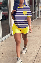 Yellow Casual Polyester Striped Short Sleeve Round Neck Tee Top Shorts Sets HM5313